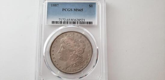 PCGS GRADED MS65 1887 MORGAN SILVER DOLLAR