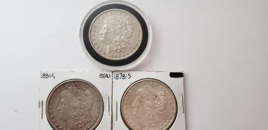 (3) AU MORGAN SILVER DOLLARS: 1878-S, 1880, 1881-S