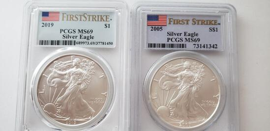 (2) PCGS GRADED MS69 FIRST STRIKE SILVER AMERICAN EAGLES: