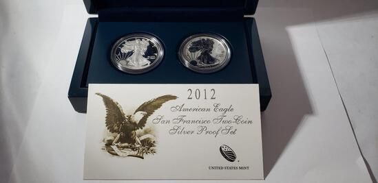 UNITED STATES MINT AMERICAN EAGLE 2012 SAN FRANCISCO TWO COIN SILVER PROOF SET