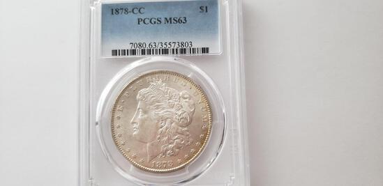 PCGS GRADED MS63 1878-CC MORGAN SILVER DOLLAR