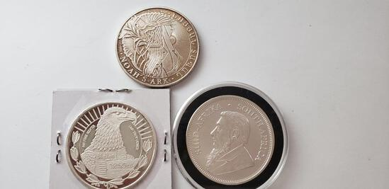 (3) SILVER ONE OUNCE ROUNDS: 2018 KRUGERAND, 1791 BILL OF RIGHTS, NOAH'S ARK