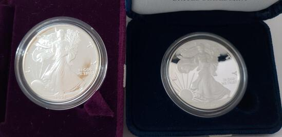 (2) UNITED STATES MINT AMERICAN EAGLE ONE OUNCE SILVER PROOF COINS: 2016, 2018