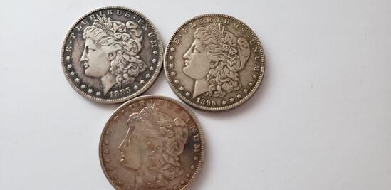 (3) MORGAN SILVER DOLLARS: 1885-O, 1889-O, 1895