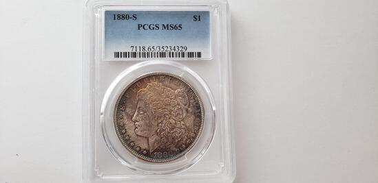 PCGS GRADED MS65 1880-S MORGAN SILVER DOLLAR