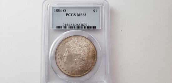 PCGS GRADED MS63 1884-O MORGAN SILVER DOLLAR