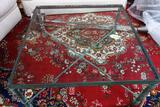 IRON AND GLASS SQUARE COFFEE TABLE