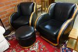 PAIR OF ART DECO STYLE CUSTOM BLACK LEATHER CLUB CHAIRS WITH OTTOMAN