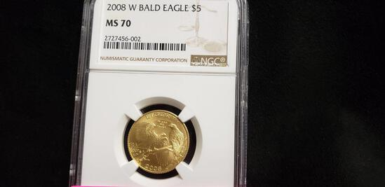 NGC GRADED MS70 2008-W $5 GOLD BALD EAGLE COIN