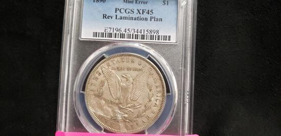 PCGS GRADED XF45 1890 MINT ERROR REV LAMINATION PLAN MORGAN SILVER DOLLAR