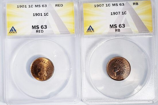 (2) ANACS GRADED MS63 INDIAN HEAD CENT COINS: 1901 1¢ RED, 1907 1¢ RED
