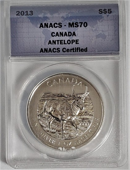 ANACS GRADED MS70 2013 $5 CANADA ANTELOPE