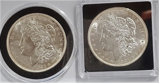 (2) 1921 MORGAN SILVER DOLLARS, 1 D MINT, UNCIRCULATED