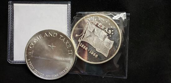 (2) TEXAS ONE TROY OZ .999 FINE SILVER COINS