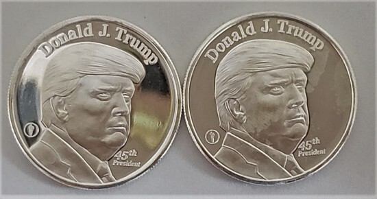 (2) DONALD TRUMP ONE TROY OZ .999 FINE SILVER COINS