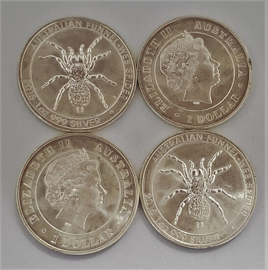 (4) 2015 AUSTRALIAN FUNNEL-WEB SPIDER 1 OZ .999 SILVER COINS