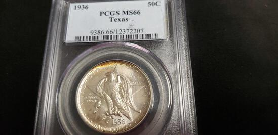 PCGS GRADED MS66 1936 TEXAS COMMEMORATIVE HALF DOLLAR