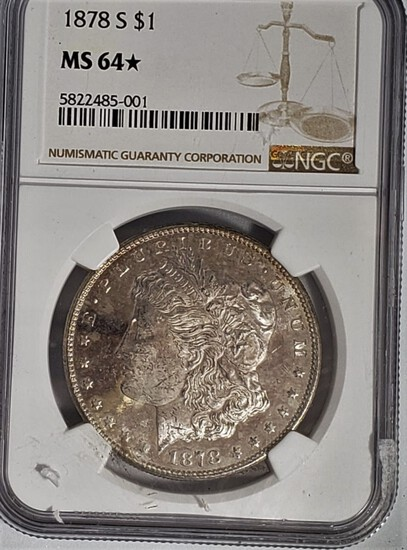 NGC GRADED MS64 1878-S MORGAN SILVER DOLLAR