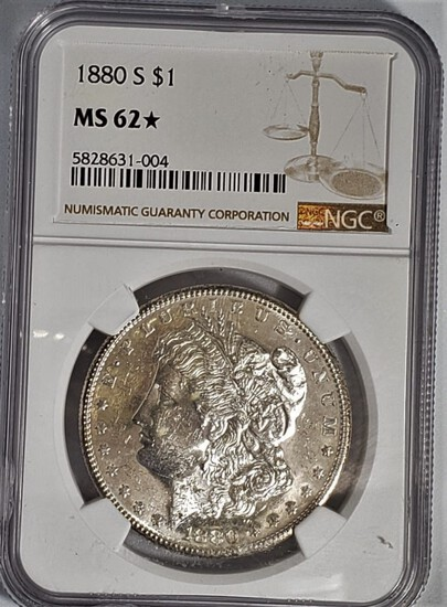 NGC GRADED MS62 1880-S MORGAN SILVER DOLLAR