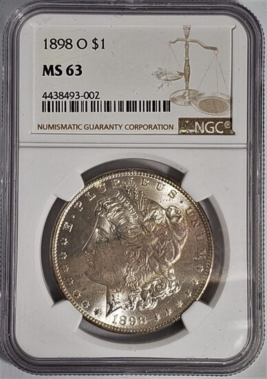 NGC GRADED MS63 1898-O MORGAN SILVER DOLLAR