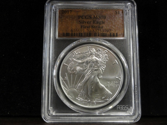 PCGS GRADED MS70 FIRST STRIKE 2017 SILVER EAGLE