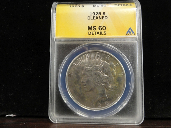 ANACS GRADED MS60, DETAILS, CLEANED PEACE SILVER DOLLAR