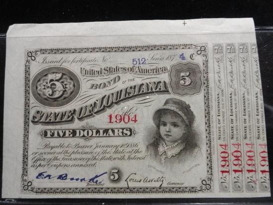 STATE OF LOUISIANA FIVE DOLLAR BOND