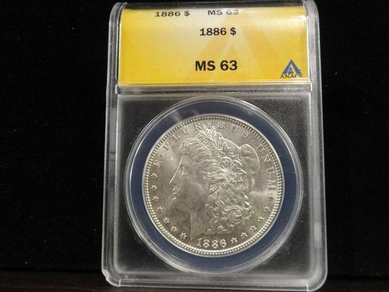 ANACS GRADED MS63 1886 MORGAN SILVER DOLLAR