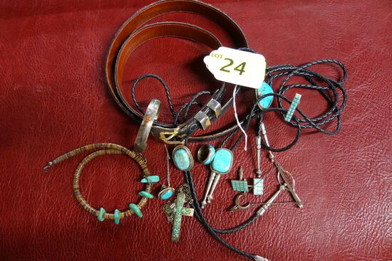LOT OF GENT'S SILVER AND TURQUOISE JEWELRY ITEMS: