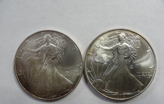 (2) BU AMERICAN EAGLE ONE OUNCE SILVER COINS: 1995, 1996