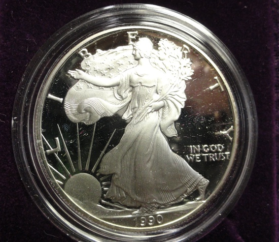 1990 REVERSE PROOF AMERICAN EAGLE ONE OUNCE SILVER COIN