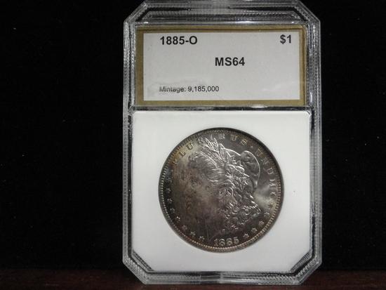 PCI GRADED MS64 1885-O MORGAN SILVER DOLLAR