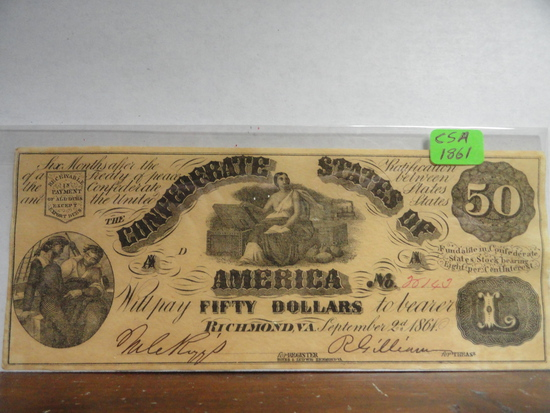 1861 CONFEDERATE STATES OF AMERICAN FIFTY DOLLAR NOTE