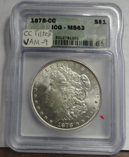 ICG GRADED MS63 1878-CC MORGAN SILVER DOLLAR, VAM-9, CC TILTED