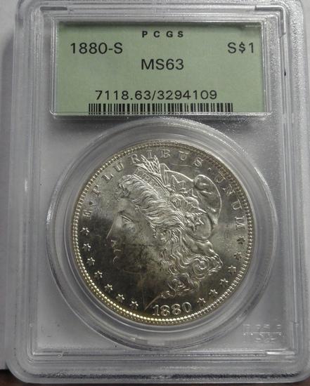 PCGS GRADED MS63 1880-S MORGAN SILVER DOLLAR