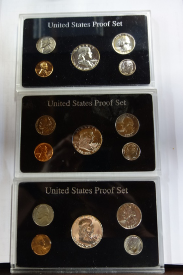 (3) ENCAPSULATED U.S. PROOF SETS: 1960, 1961, 1962