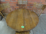 VINTAGE OAK ROUND TABLE WITH CLAW FEET, 4 PRESSED BACK OAK CHAIRS