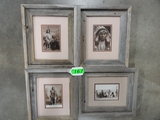 (4) FRAMED CABINET CARD REPRODUCTIONS OF INDIAN CHIEFS: