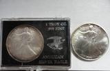 (2) BU AMERICAN EAGLE ONE OUNCE SILVER COINS: 1993, 1995