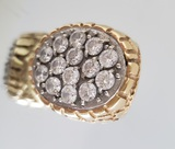 14KT GOLD AND CZ MEN'S RING WITH 14 (4MM) CZ'S (44.1 GRAMS)