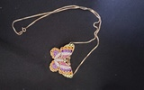 14KT YELLOW GOLD, AMETHYST AND GEMSTONES BUTTERFLY PENDANT/ENHANCER