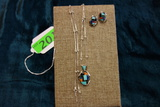 STERLING NECKLACE WITH PENDANT AND EARRINGS