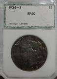 PCI GRADED EF40 1934-S PEACE SILVER DOLLAR