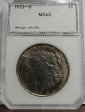 PCI GRADED MS63 1923-D PEACE SILVER DOLLAR