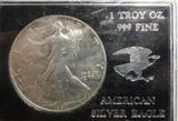 1990 SILVER AMERICAN EAGLE, 1 TROY OZ, .999 FINE SILVER