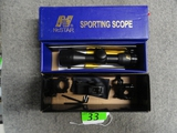 (1) SCOPE: NCSTAR SPORTING SCOPE 4 X 30, AND MOUNTS