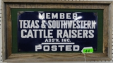 MEMBER'S TEXAS AND SOUTHWEST CATTLE RAISERS ASSOC. ENAMEL SIGN