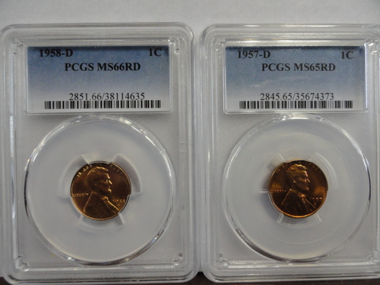 (2) PCGS GRADED LINCOLN CENTS, 1957-D MS65 RD, 1958-D MS66 RD