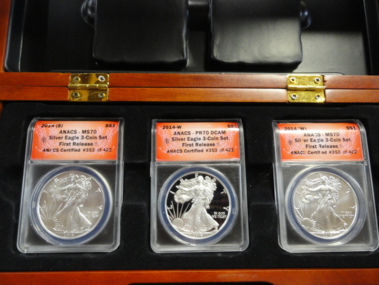 BOXED SET OF ANACS GRADED THREE COIN SET 2014 SILVER EAGLE