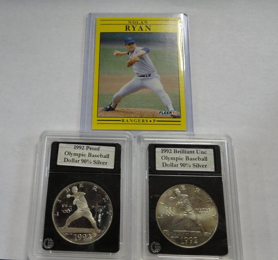 (2) 1992 NOLAN RYAN OLYMPIC BASEBALL  SILVER DOLLARS, & '91 NOLAN RYAN CARD